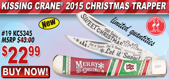 Kissing Crane 2015 Christmas Trapper Pocket Knife
