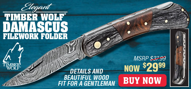Timber Wolf File Worked Damascus Pocket Knife