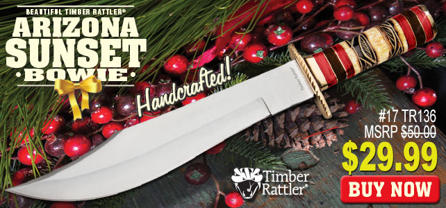 Timber Rattler Arizona Sunset Bowie Fixed Blade Knife Genuine Bone