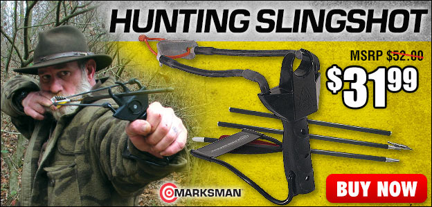 Marksman Pocket Hunter Slingshot With 3-Piece Arrow Set