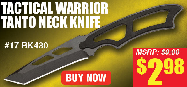 Tactical Warrior Tanto Neck Knife with Lanyard & Sheath