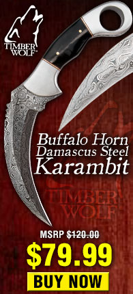 Timber Wolf Buffalo Horn Damascus Steel Karambit Knife